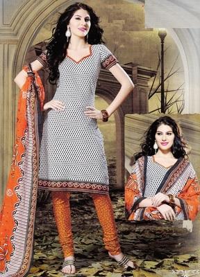 Dazzling Greyish Printed Cotton Dress Material D.No SU8073