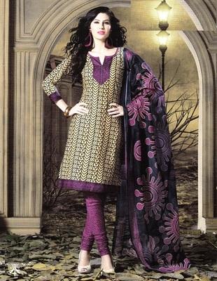 Trendy Beige Printed Cotton Dress Material D.No SU8074