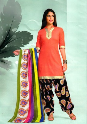 Beautiful Peach Printed Cotton Patiyala Dress Material D.No PD702