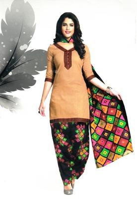 Trendy Dark Cream Printed Cotton Patiyala Dress Material D.No PD704