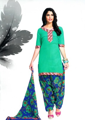 Trendy Green Printed Cotton Patiyala Dress Material D.No PD709