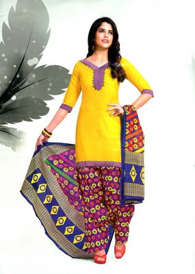 Fabulous Yellow Printed Cotton Patiyala Dress Material D.No PD711