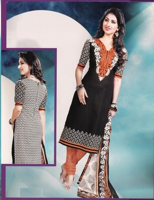 Beautiful Black  Printed Cotton Dress Material D.No DP2302