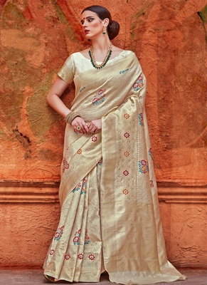 dcf48cfa6f Off white woven art silk saree with blouse - Monjolika - 2165545