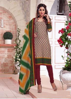 Dazzling Multi Color Printed Cotton  Dress Material D.No SU2603