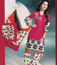 Dazzling Pink Printed Cotton Dress Material D.No DP2340 shop online