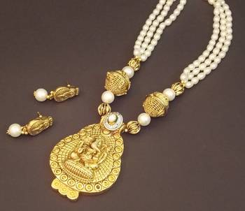 Ganesha Temple Pearl Necklace Set