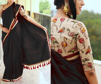 Black plain chanderi saree with blouse