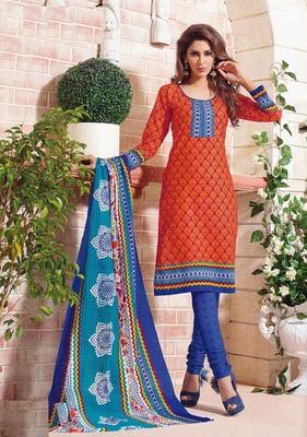 Fabulous Orange Printed Cotton  Dress Material D.No SU2619