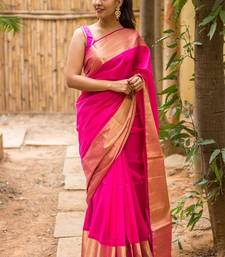 Buy Pink embroidered georgette saree with blouse printed-saree online
