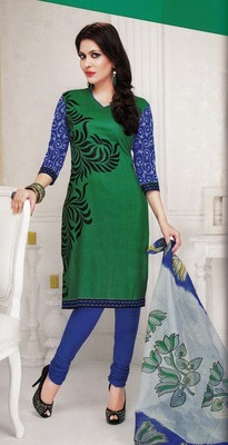Radiant Green Printed Cotton  Dress Material D.No LS4572