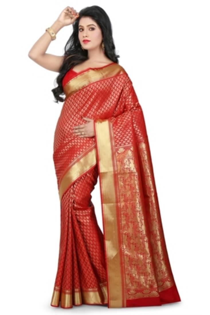 c757b350db14a6 Red plain art silk sarees saree with blouse - banasuri enterprises ...