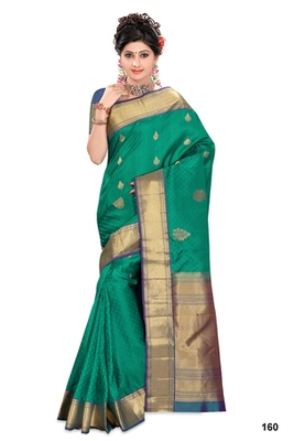 Peacock green plain pure silk saree with blouse