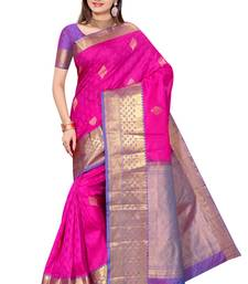 Strawberry pink plain pure silk saree with blouse