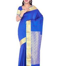 Buy Indigo blue plain art silk sarees saree with blouse art-silk-saree online