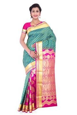 Teal blue and fuchsia half-half art silk sarees saree with blouse