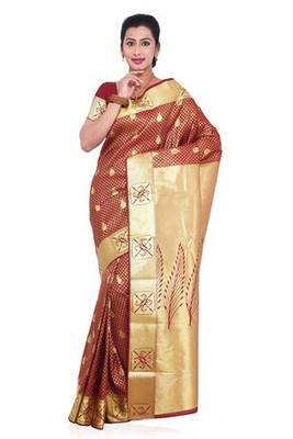 Maroon plain art silk saree with blouse