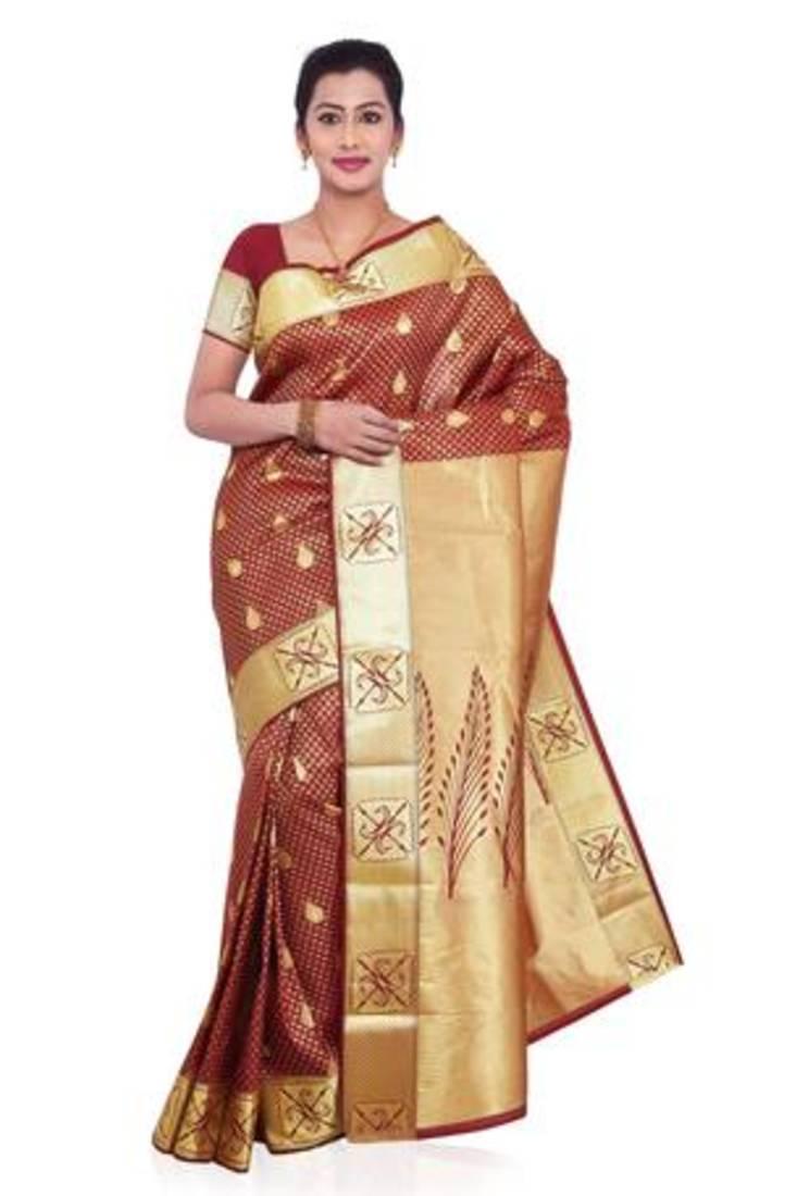 93702d22b01631 Source · Maroon plain art silk saree with blouse banasuri enterprises  2167013