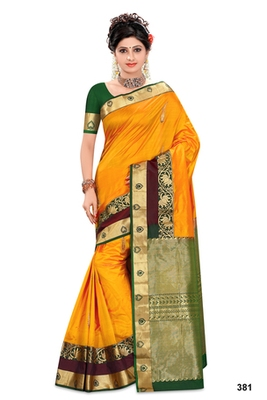 Mustard plain pure silk saree with blouse