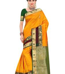 Buy Mustard plain pure silk saree with blouse wedding-saree online