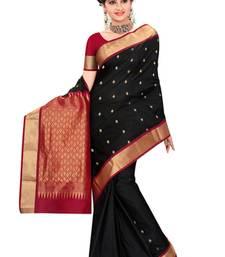 Black plain pure silk saree with blouse