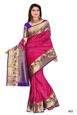 Rani pink plain pure silk saree with blouse