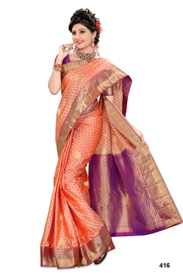 Dark peach plain pure silk saree with blouse