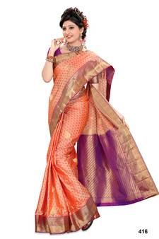 72c4ffd4f01f5 Dark peach plain pure silk saree with blouse