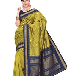 Buy Mehindi green plain pure mix saree with blouse traditional-saree online