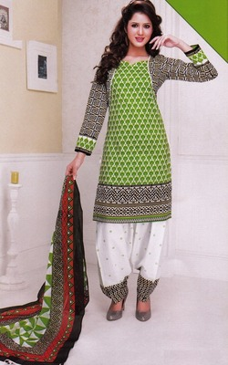 Trendy Green Printed Cotton  Dress Material D.No LS4583