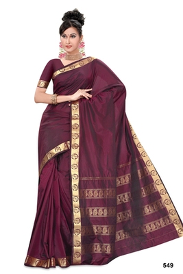 Dark maroon plain pure mix saree with blouse