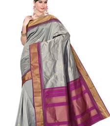 Buy Grey plain pure mix saree with blouse kanchipuram-silk-saree online