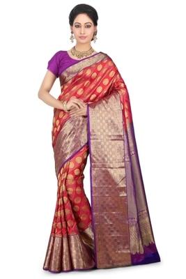 0c39131076ad2 Red and fuchsia plain pure silk saree with blouse - banasuri ...