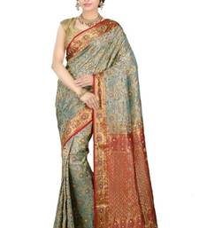Buy Dusty green plain pure silk saree with blouse kanchipuram-silk-saree online