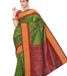 Olive green plain pure mix saree with blouse