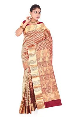Maroon plain pure mix saree with blouse