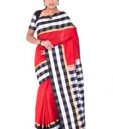 Buy Red plain pure mix saree with blouse uppada-saree online