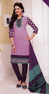 Fabulous Purple Printed Cotton  Dress Material D.No LS4585