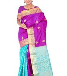 Purple and turquoise half-half pure silk saree with blouse