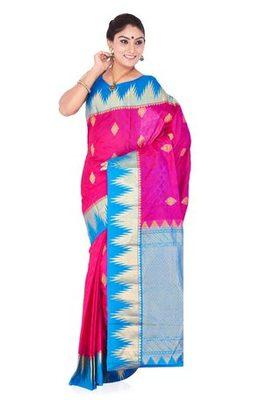 ae665a9aba4d2e Dark pink plain pure silk saree with blouse - banasuri enterprises ...