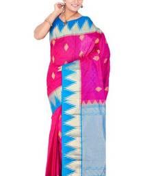 Dark pink plain pure silk saree with blouse
