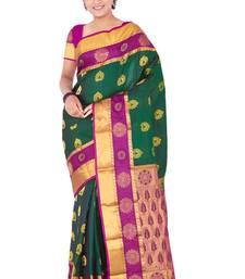 Buy Bottle green plain pure silk saree with blouse kanchipuram-silk-saree online