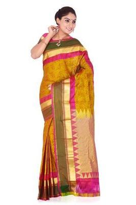 Fuchsia and yellow plain pure silk saree with blouse