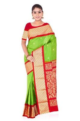 parrot green plain pure silk saree with blouse