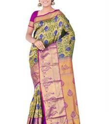 Buy Golden and teal green plain pure silk saree with blouse kanchipuram-silk-saree online