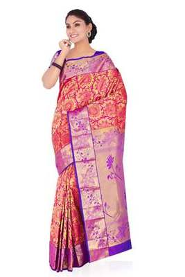 Golden and fuchsia plain pure silk saree with blouse
