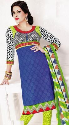 Dazzling Blue Printed Cotton  Dress Material D.No LS4587