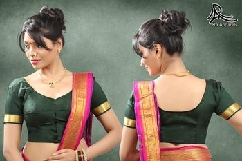 Green Art Silk Stitched blouse with paithani border with Maharashtrian style blouse