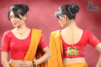 Red Stitched blouse with Kantha hand painted work  with Maharashtrian style blouse