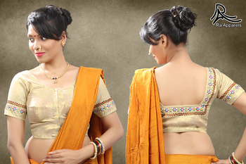 Tissue Golden Stitched blouse with embroidery with Maharashtrian style blouse
